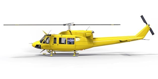 Желтый небольшой военно-транспортный вертолет на белом изолированной поверхности. вертолет спасательной службы. воздушное такси. вертолет для полиции, пожарной, скорой и спасательной службы