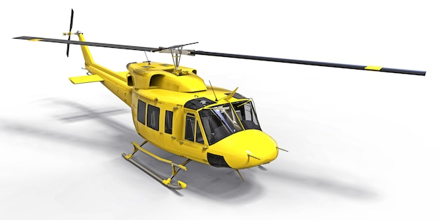 Yellow small military transport helicopter on white isolated surface. the helicopter rescue service. air taxi. helicopter for police, fire, ambulance and rescue service
