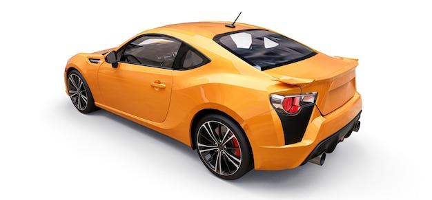 노란색 작은 스포츠카 쿠페. 3d 렌더링.