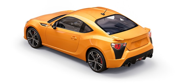 Yellow small sports car coupe. 3d rendering.