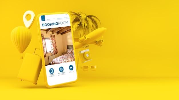 Yellow smartphone booking room app