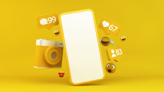 Yellow smartphone with social media notifications and emojis in 3d rendering