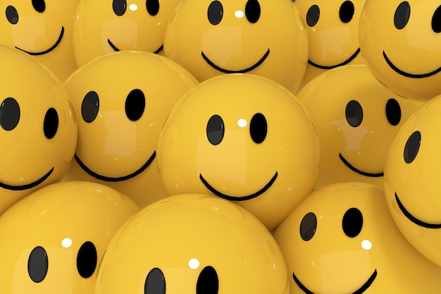 Yellow smileys in social media concept 3d rendering