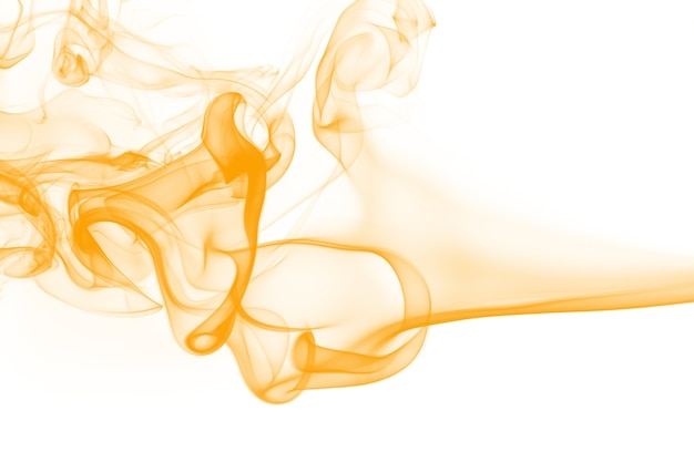 Yellow smoke abstract on white background