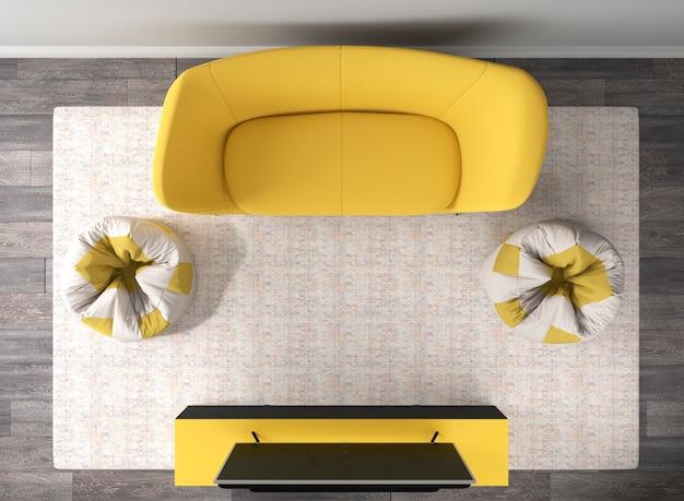 黄色のソファとオットマン、テレビの上面図