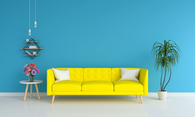 Yellow sofa  in blue living room for mockup