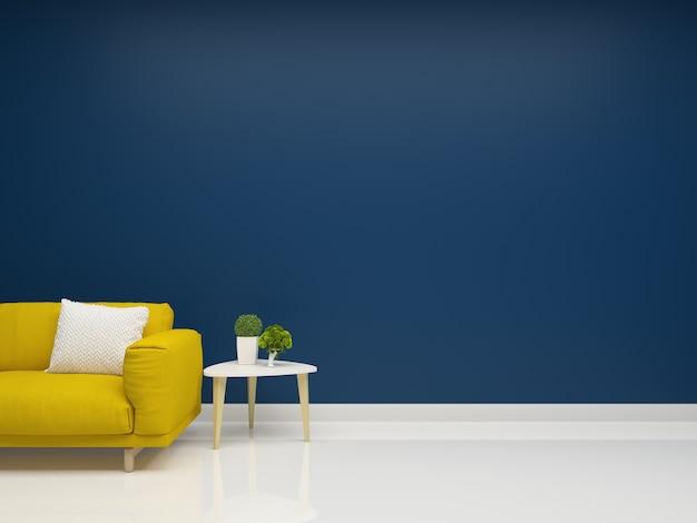 Yellow sofa deep blue wall living room interior