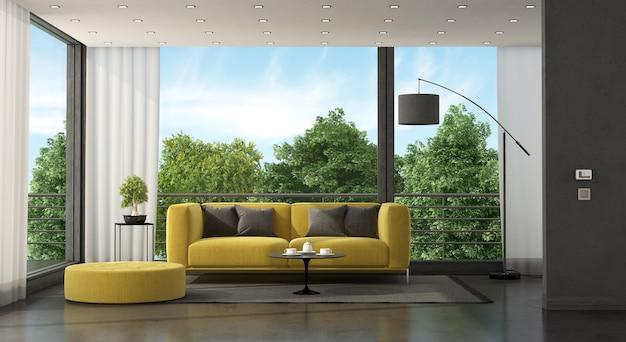 미니멀 거실-3d 렌더링에 큰 창 앞의 노란색 소파