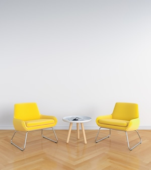 Yellow sofa in white living room for mockup, 3D rendering