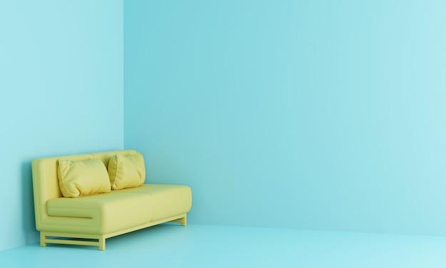 Yellow sofa in light blue room. 3d render.