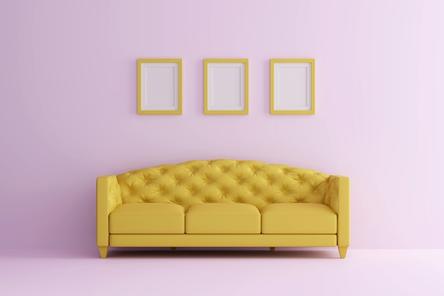 A yellow sofa in pink living room with picture frame. minimal style concept.