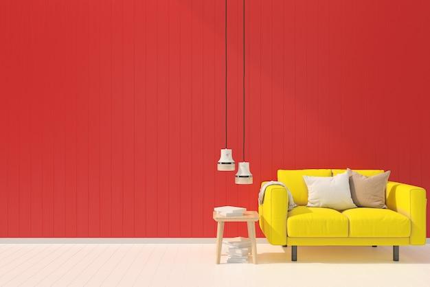 黄色いソファー赤いパステルの壁白い木の床の背景テクスチャの色フルランプの輝き