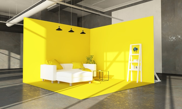 Yellow sofa showroom