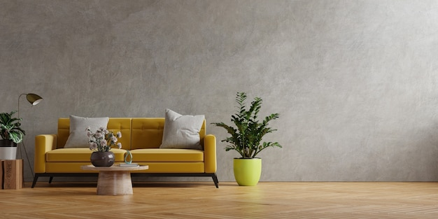 Yellow sofa and a wooden table in living room interior with plant,concrete wall.3d rendering