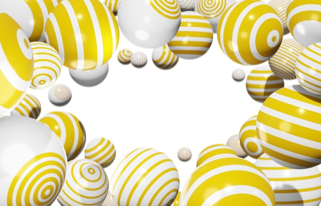 さまざまなストライプの黄色の球形白い背景の上に自由に浮かぶ、フレーム、3dイラスト