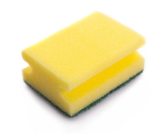 Желтая губка на белом