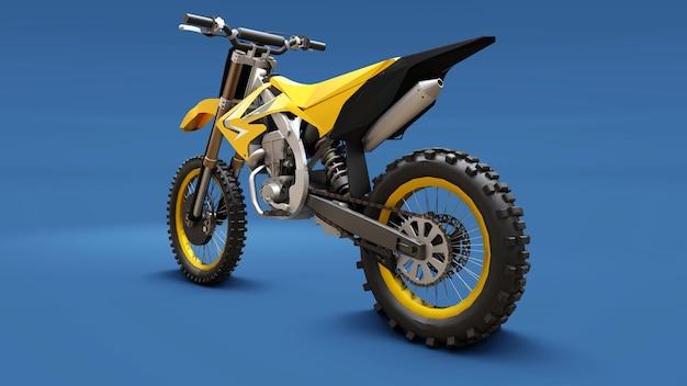 Yellow sport bike for cross-country on a blue background. racing sportbike. modern supercross motocross dirt bike. 3d rendering.