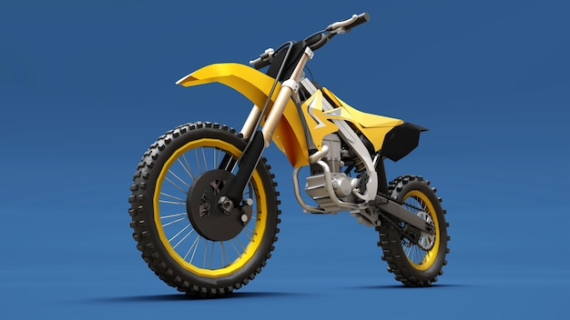 Yellow sport bike for cross-country on a blue surface