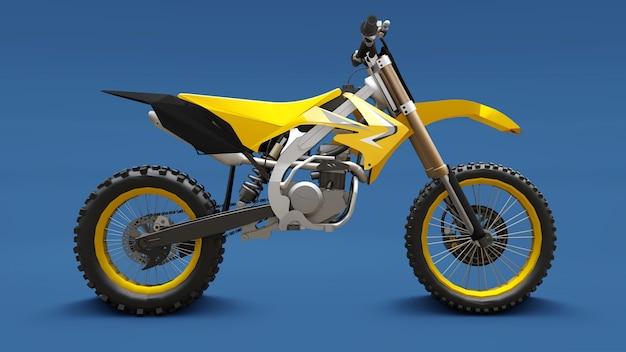 크로스 컨트리 파란색 배경에 노란색 스포츠 자전거. 레이싱 스포츠 바이크. 현대 supercross motocross 먼지 자전거. 3d 렌더링.