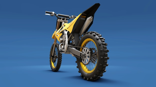 青い表面のクロスカントリー用の黄色のスポーツバイク