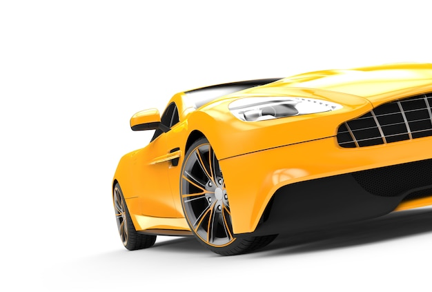 Yellow sport car isolated on white