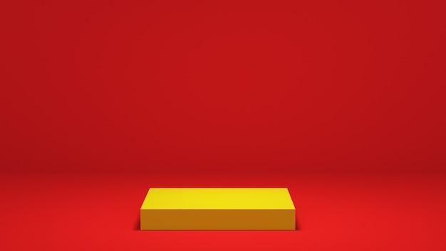 빨간색 배경에 노란색 사각형 연단입니다. 3d 렌더링