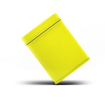 あなたのデザインプロジェクトのための黄色い正方形のブリキ缶包装モックアップ-白い背景で3dイラスト分離のモックアップ。