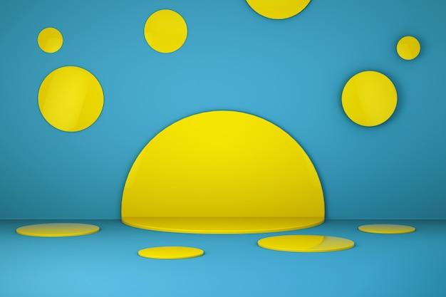 Желтая сцена с синим