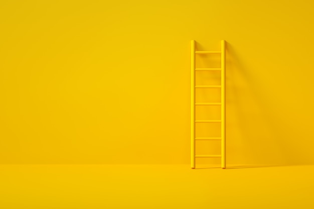 Yellow stair on yellow background