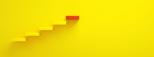 Yellow stairs leading to red top step, top level or career, 3d rendering, panoramic layout