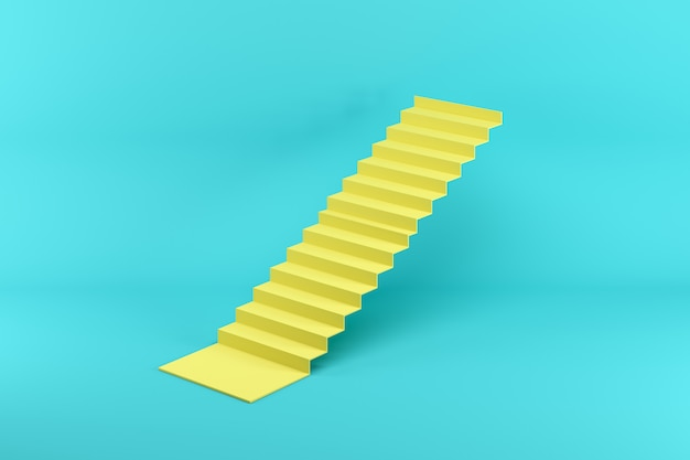 Yellow stairway isolated on blue