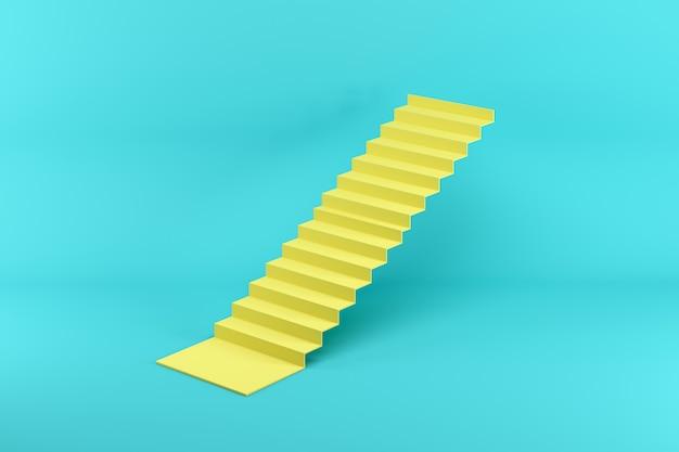 Желтая лестница, изолированных на синем