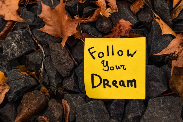 Yellow sticker with inscription follow your dream on autumn leaves