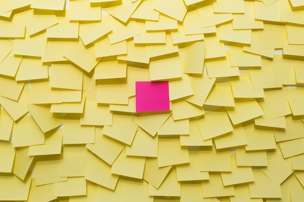 Yellow sticky notes on the wall