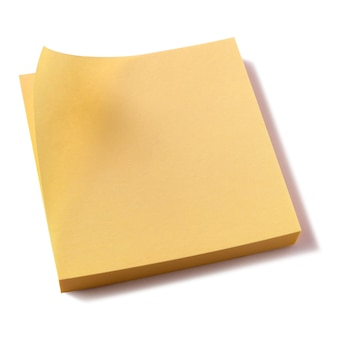 Yellow sticky post notes pad white