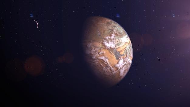 雲のある黄色い石型の太陽系外惑星