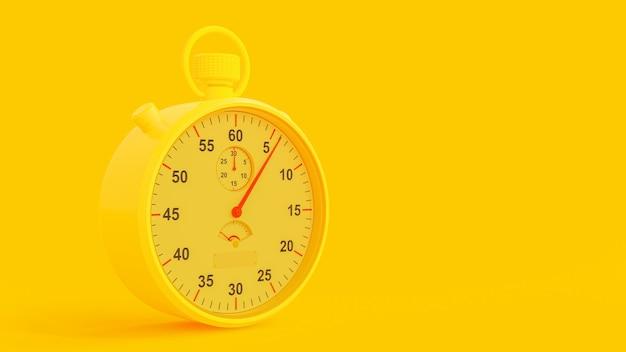 黄色のストップウォッチ、3dレンダリング。