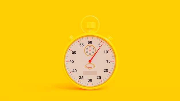 Yellow stopwatch on yellow background. clipping path and copy space for your text.