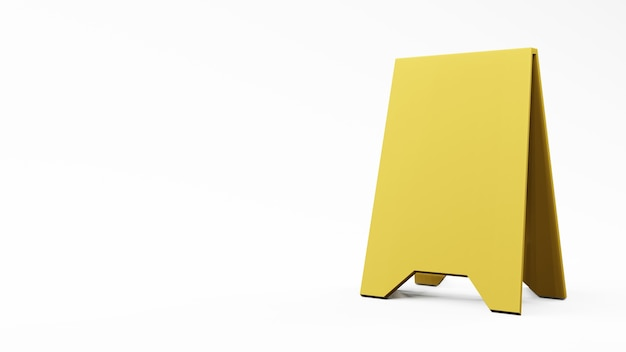 Yellow storefront sign on white background , 3d rendering .