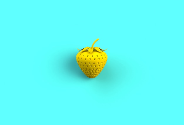 Yellow strawberry on blue background, 3d rendering