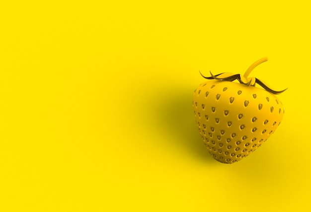 Yellow strawberry on yellow