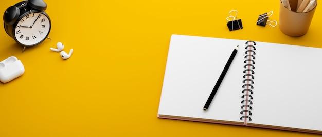 文房具クリップイヤホンと時計3dレンダリング3dイラストと黄色の研究テーブル