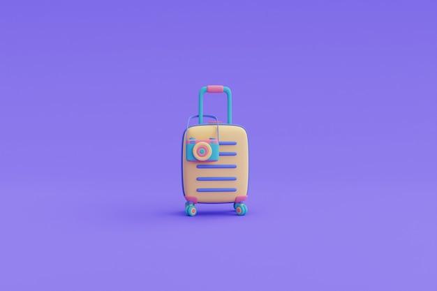 노란색 가방과 카메라, 온라인 여행 및 관광 계획 개념, 휴가, 여행 준비, 3d 렌더링.