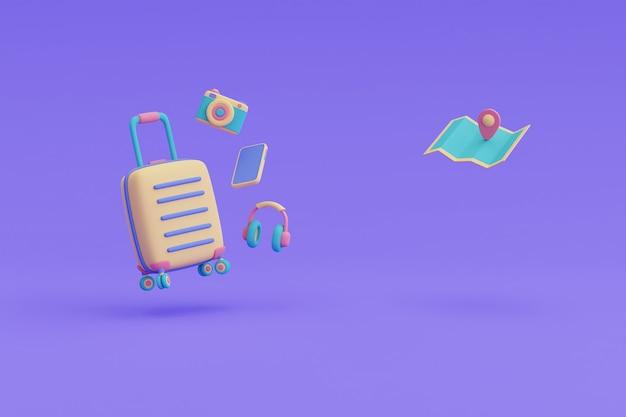 여행자 액세서리, 관광 및 여행 개념, 휴일 휴가, 여행 준비, 3d 렌더링으로 둘러싸인 노란색 여행 가방.