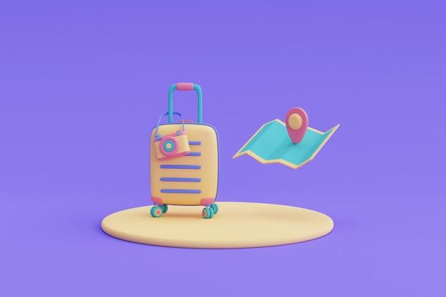 지도 및 위치 핀이 있는 노란색 가방, 관광 및 여행 개념, 휴가 휴가, 여행 준비, 3d 렌더링.