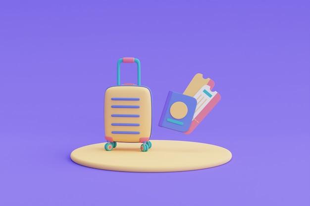 여권과 티켓이 있는 노란색 여행가방, 관광 및 여행 개념, 휴일 휴가, 여행 준비, 3d 렌더.