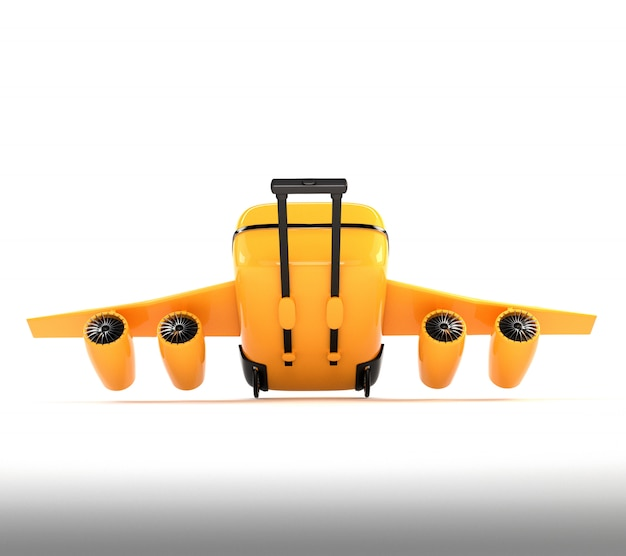 Yellow suitcase with wheels, wings and engines.