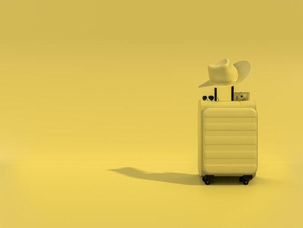 Желтые чемоданы с камерой и солнцезащитные очки на желтом фоне. минимальная концепция.