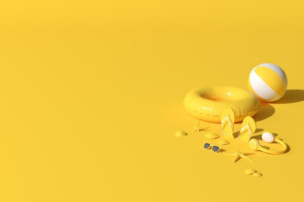黄色の夏のビーチのコンセプト。夏のアクセサリー、ヘッドフォン、サングラス、ヒトデ、貝殻、インフレータブルリング、フリップフロップ。 3dレンダリング。