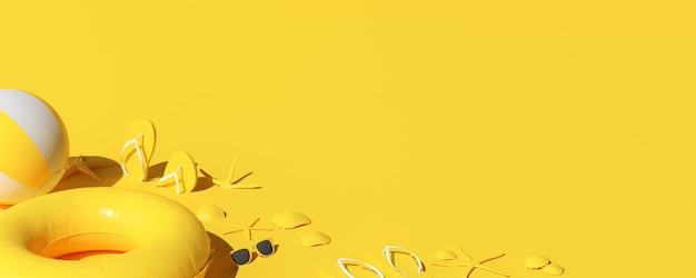 黄色の夏のビーチのコンセプト。夏のアクセサリー、サングラス、ヒトデ、シェル、インフレータブルリング、フリップフロップ。 3dレンダリング。